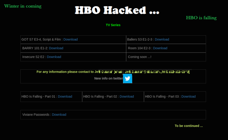 HBO's twitter account gets hacked – The chronological order of cyber-attacks